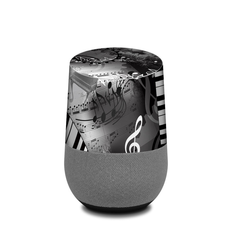 Google Home Skin design of Music, Monochrome, Black-and-white, Illustration, Graphic design, Musical instrument, Technology, Musical keyboard, Piano, Electronic instrument with black, gray, white colors
