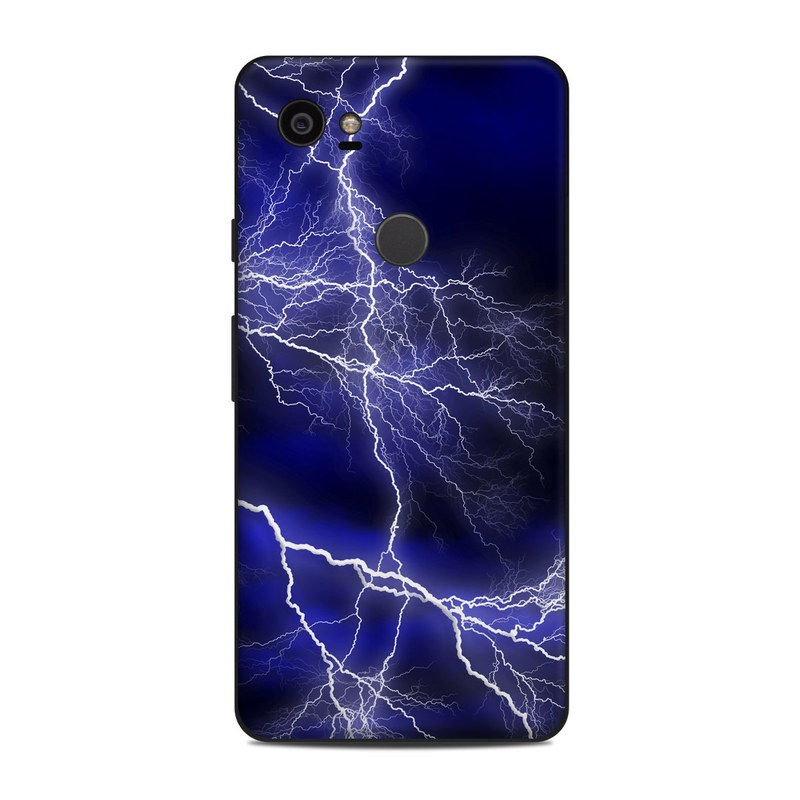 Google Pixel 2 XL Skin design of Thunder, Lightning, Thunderstorm, Sky, Nature, Electric blue, Atmosphere, Daytime, Blue, Atmospheric phenomenon with blue, black, white colors