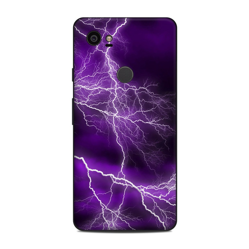 Google Pixel 2 XL Skin design of Thunder, Lightning, Thunderstorm, Sky, Nature, Purple, Violet, Atmosphere, Storm, Electric blue with purple, black, white colors