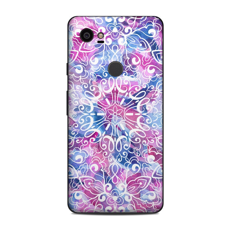 Google Pixel 2 XL Skin design of Pattern, Pink, Lilac, Design, Textile, Visual arts, Motif, Floral design, Plant with blue, pink, purple, white colors