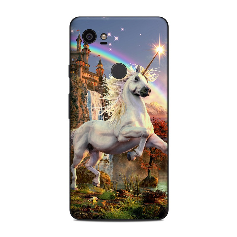 Google Pixel 2 XL Skin design of Nature, Unicorn, Fictional character, Sky, Mythical creature, Mythology, Cg artwork, Horse, Mane, Wildlife with black, gray, red, green, blue colors