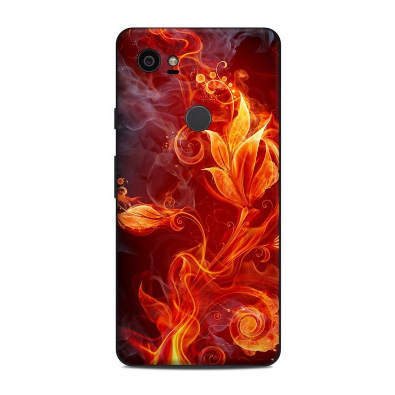 Google Pixel 2 XL Skin design of Flame, Fire, Heat, Red, Orange, Fractal art, Graphic design, Geological phenomenon, Design, Organism with black, red, orange colors