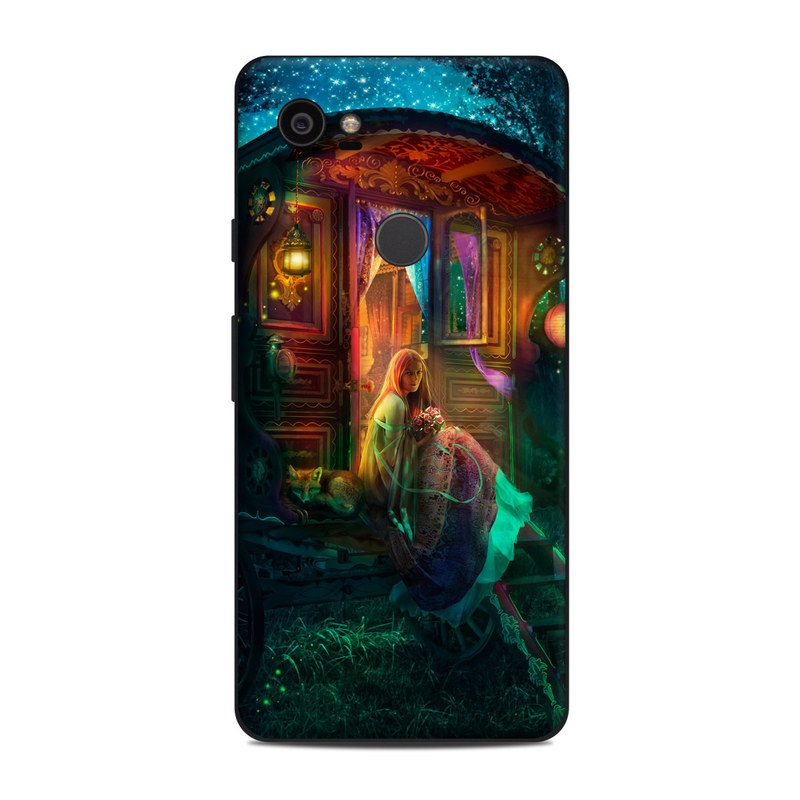 Google Pixel 2 XL Skin design of Illustration, Adventure game, Darkness, Art, Digital compositing, Fictional character, Games with black, red, blue, green colors