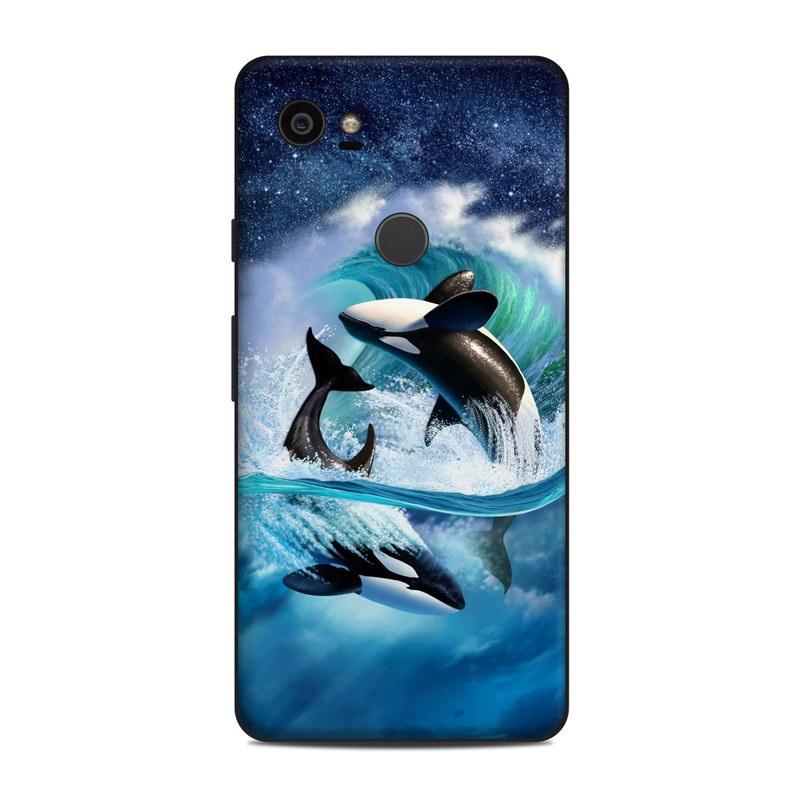 Google Pixel 2 XL Skin design of Dolphin, Short-beaked common dolphin, Sky, Cetacea, Killer whale, Marine mammal, Water, Illustration, Bottlenose dolphin, Common bottlenose dolphin with black, blue, white, green colors
