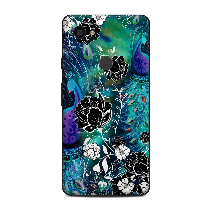 Google Pixel 2 XL Skin design of Pattern, Psychedelic art, Organism, Turquoise, Purple, Graphic design, Art, Design, Illustration, Fractal art with black, blue, gray, green, white colors