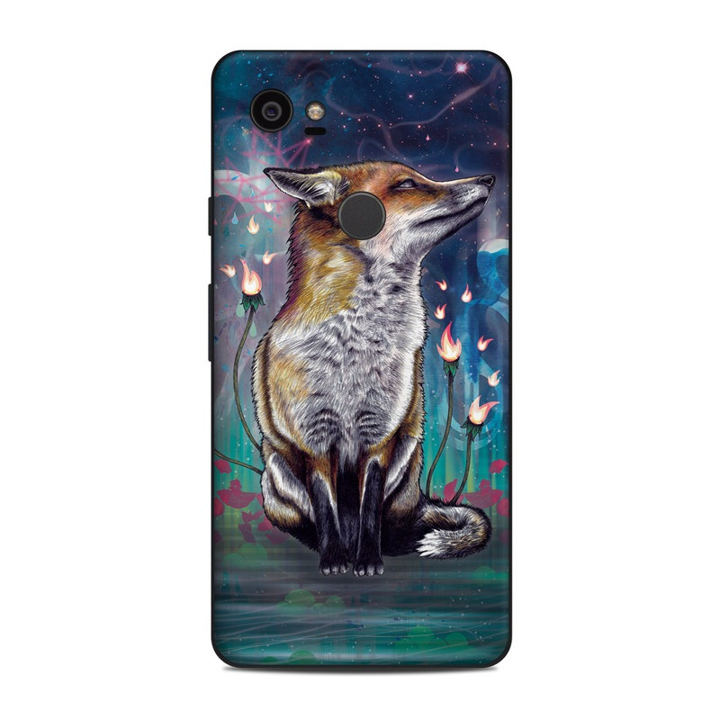 Google Pixel 2 XL Skin design of Red fox, Art, Wildlife, Canidae, Illustration, Fox, Carnivore, Painting, Dhole, Red wolf with black, gray, blue, red, green colors