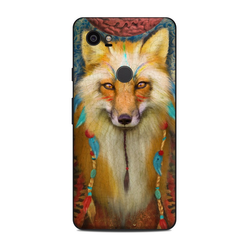 Google Pixel 2 XL Skin design of Red fox, Canidae, Fox, Wildlife, Swift fox, Carnivore, Jackal, Fur, Snout, Art with red, black, gray, green, blue colors