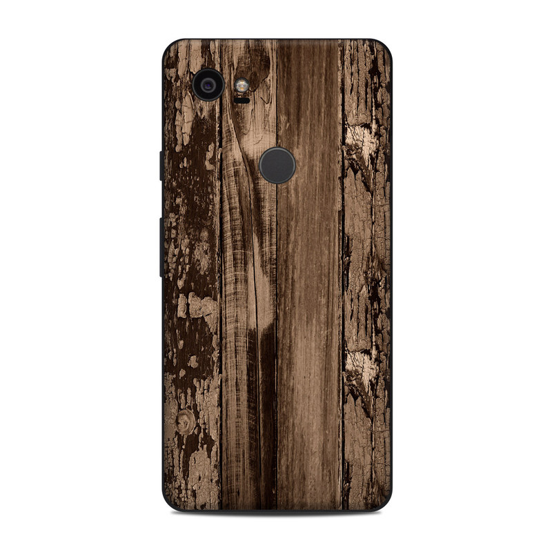 Google Pixel 2 XL Skin design of Wood, Tree, Brown, Plank, Trunk, Pattern, Line, Hardwood, Black-and-white, Forest with brown, black colors
