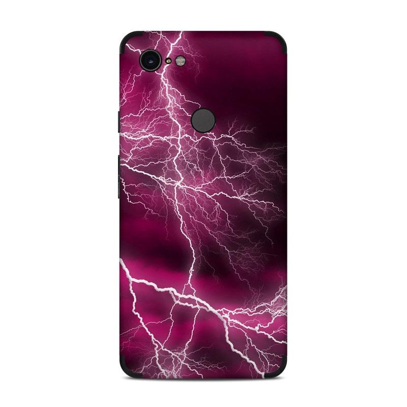 Google Pixel 3 XL Skin design of Thunder, Lightning, Thunderstorm, Sky, Nature, Purple, Red, Atmosphere, Violet, Pink with pink, black, white colors