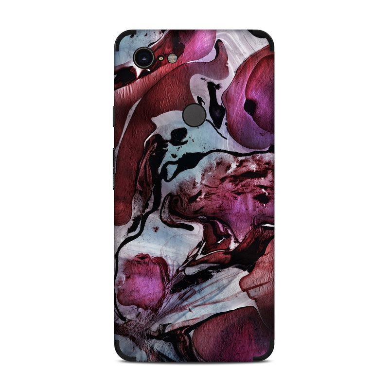 Google Pixel 3 XL Skin design of Purple, Art, Illustration, Visual arts, Cg artwork, Watercolor paint, Organism, Design, Graphic design, Pattern with blue, red, purple, black, white colors