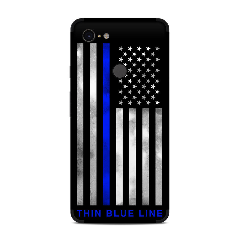 Google Pixel 3 XL Skin design of Line, Flag, Text, Flag of the united states, Font, Parallel, Symmetry, Black-and-white, Pattern, Graphics with black, white, gray, blue colors