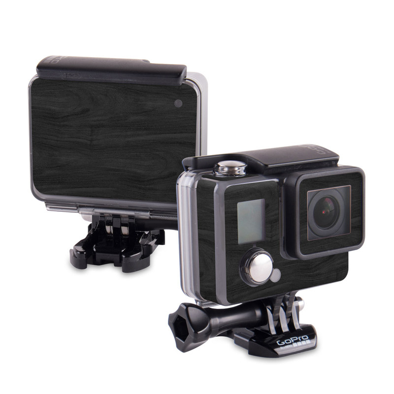 GoPro Hero Skin design of Black, Brown, Wood, Grey, Flooring, Floor, Laminate flooring, Wood flooring with black colors