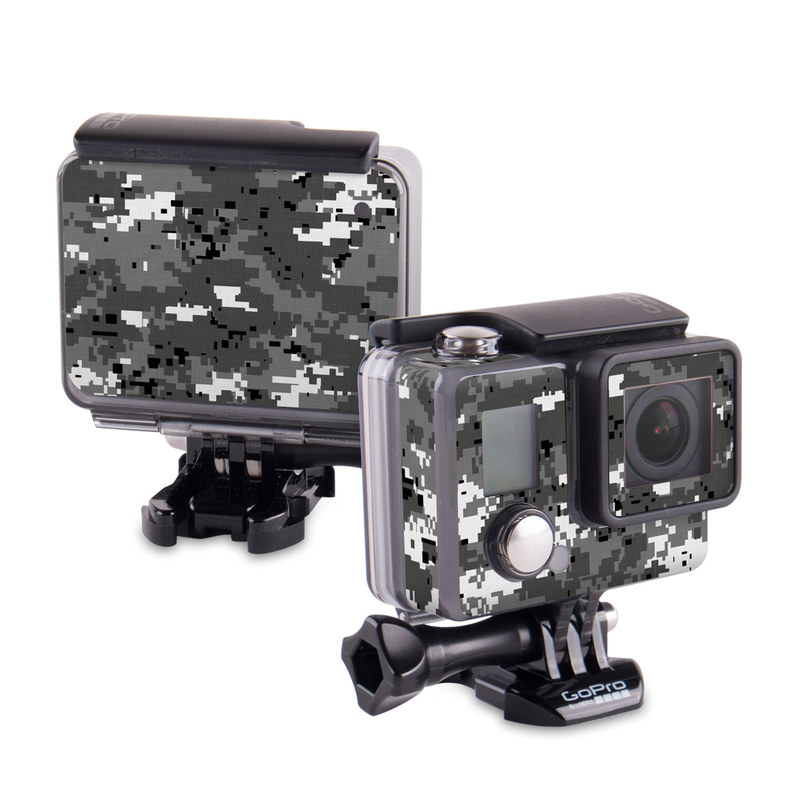 GoPro Hero Skin design of Military camouflage, Pattern, Camouflage, Design, Uniform, Metal, Black-and-white with black, gray colors