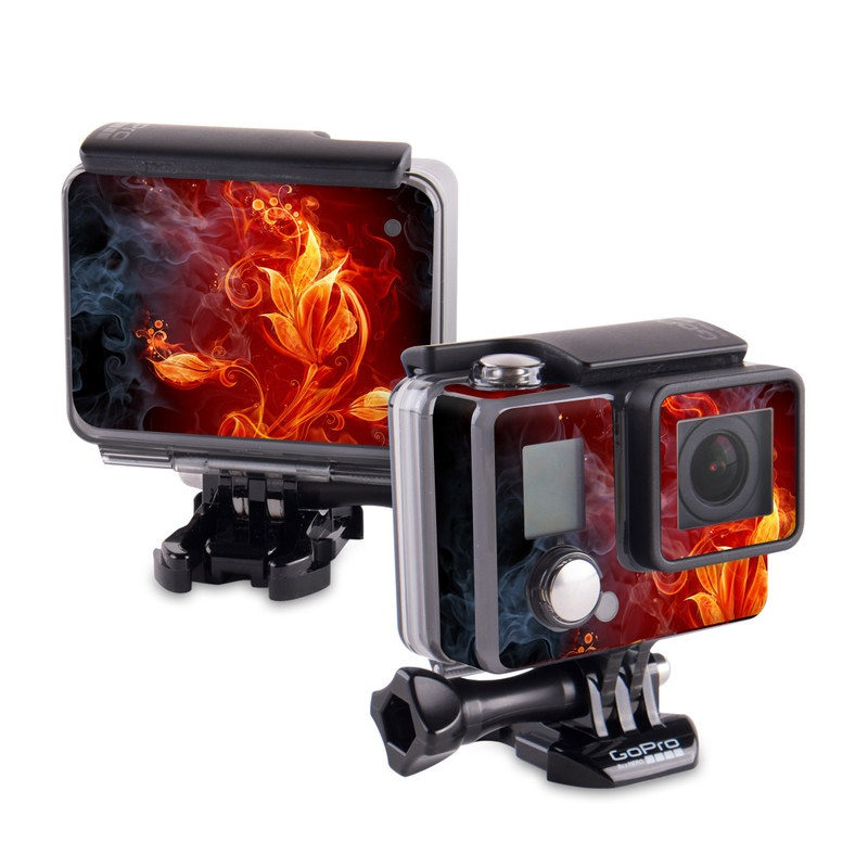 GoPro Hero Skin design of Flame, Fire, Heat, Red, Orange, Fractal art, Graphic design, Geological phenomenon, Design, Organism with black, red, orange colors