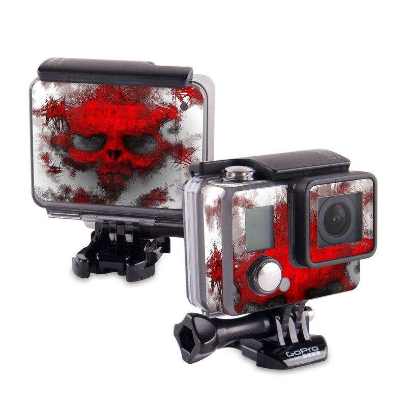 GoPro Hero Skin design of Red, Graphic design, Skull, Illustration, Bone, Graphics, Art, Fictional character with red, gray, black, white colors