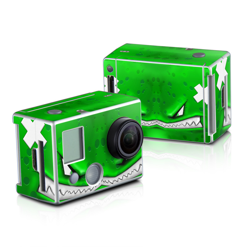 GoPro HD Hero2 Skin design of Green, Font, Animation, Logo, Graphics, Games with green, white colors