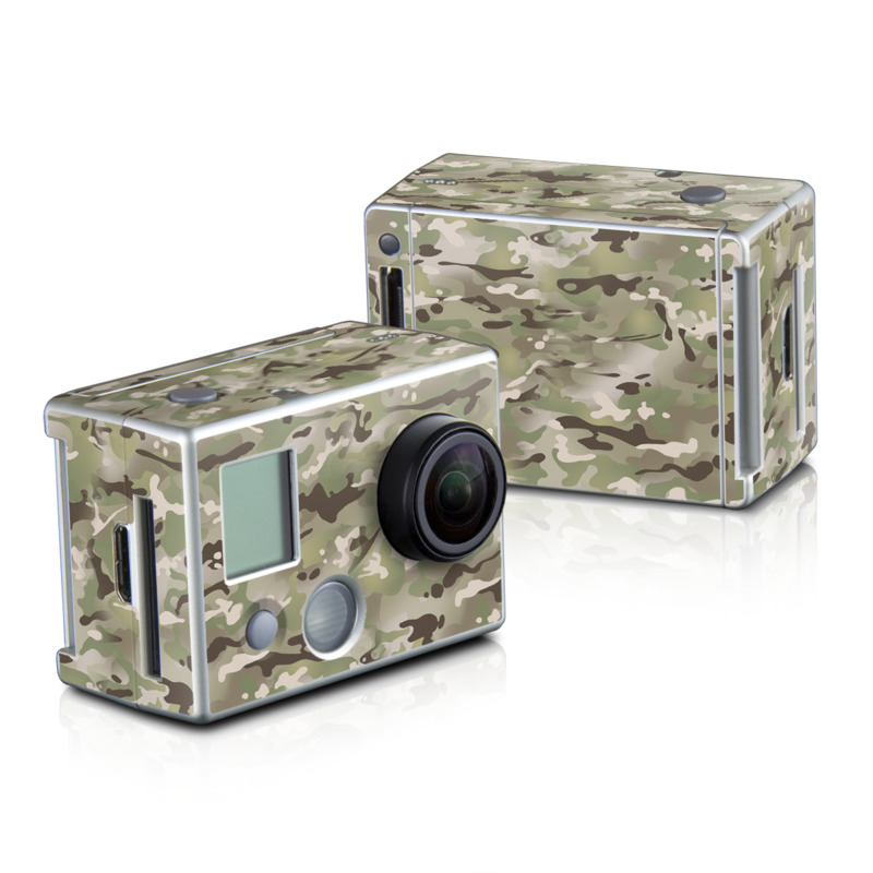 GoPro HD Hero2 Skin design of Military camouflage, Camouflage, Pattern, Clothing, Uniform, Design, Military uniform, Bed sheet with gray, green, black, red colors