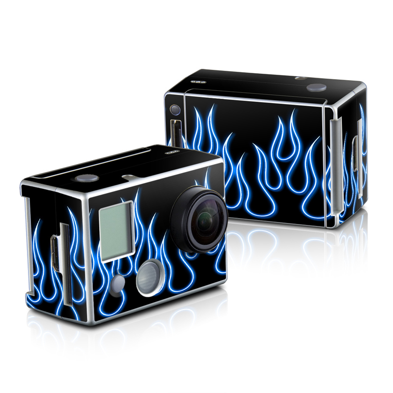 Blue Neon Flames GoPro HD Hero 2 Skin