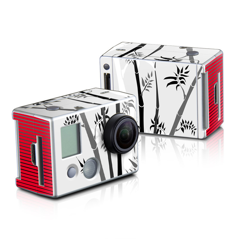 GoPro HD Hero2 Skin design of Botany, Plant, Branch, Plant stem, Tree, Bamboo, Pedicel, Black-and-white, Flower, Twig with gray, red, black, white colors