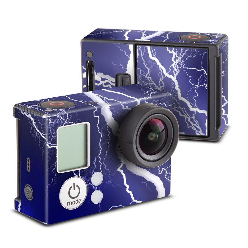 GoPro Hero3 Skin design of Thunder, Lightning, Thunderstorm, Sky, Nature, Electric blue, Atmosphere, Daytime, Blue, Atmospheric phenomenon with blue, black, white colors