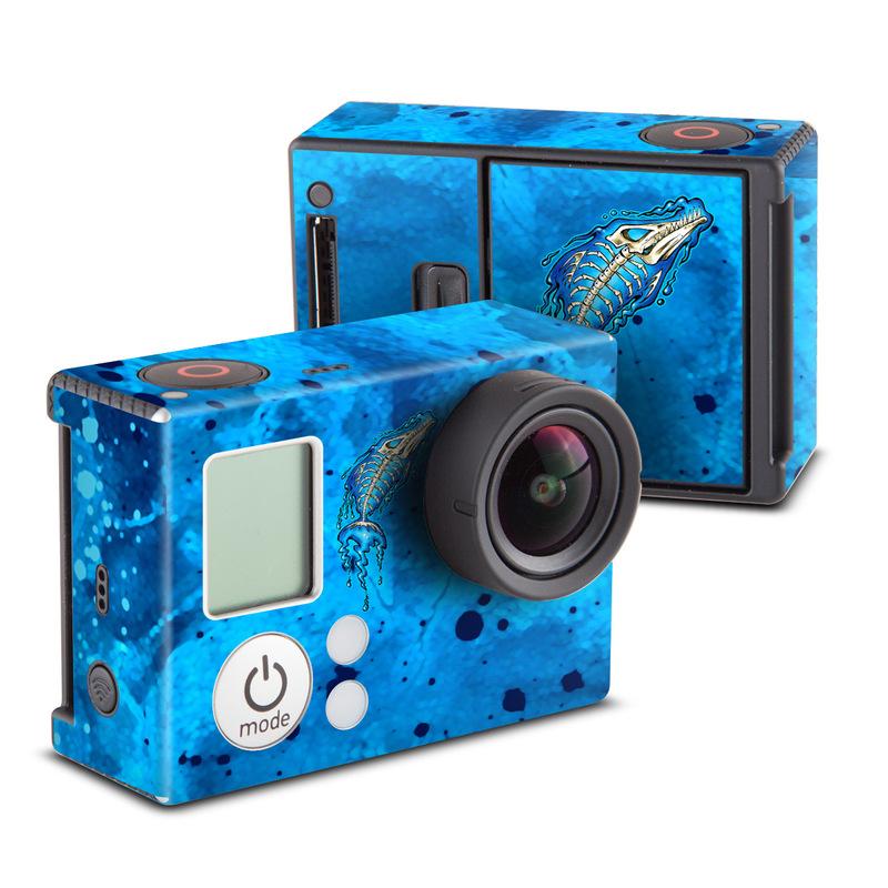 GoPro Hero3 Skin design of Blue, Water, Aqua, Electric blue, Illustration, Graphic design, Liquid, Graphics, Marine biology, Art with blue, white colors