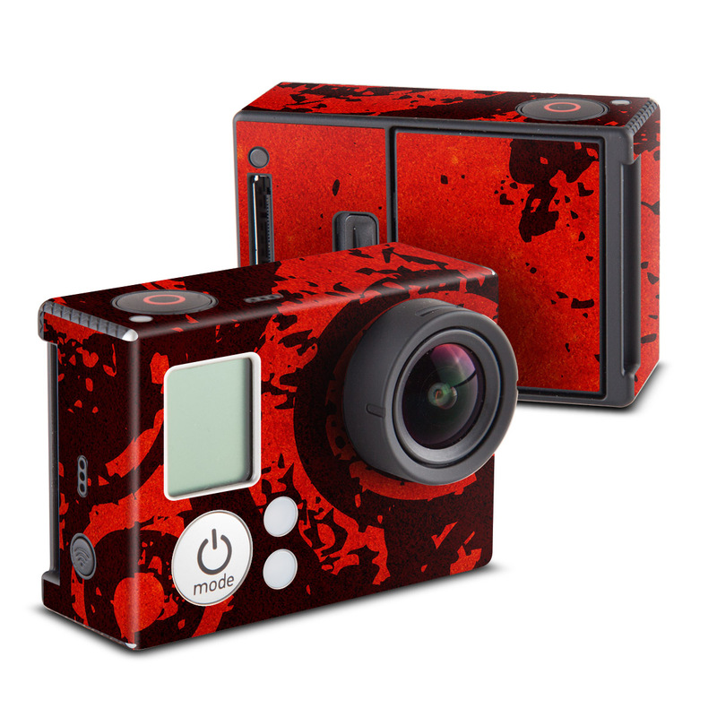 GoPro Hero3 Skin design of Red, Circle, Pattern, Design, Visual arts, Font, Graphics, Graphic design, Art, Still life photography with red, black colors