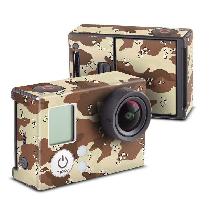 GoPro Hero3 Skin design of Military camouflage, Brown, Pattern, Design, Camouflage, Textile, Beige, Illustration, Uniform, Metal with gray, red, black, green colors