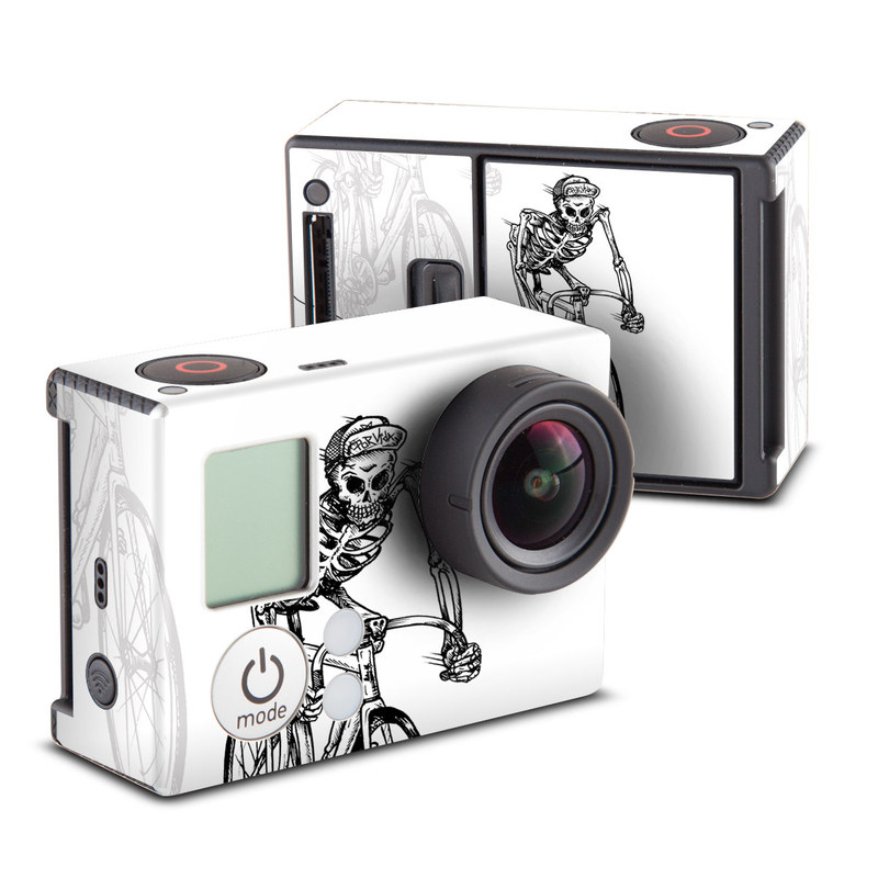 GoPro Hero3 Skin design of Land vehicle, Cycling, Bicycle, Bicycle wheel, Bicycle part, Bicycle frame, Bicycle tire, Line art, Bicycle accessory, Vehicle with white, gray, black colors