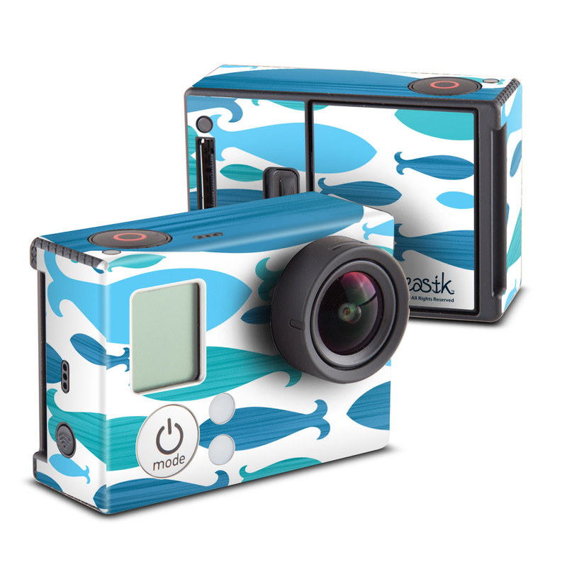 GoPro Hero3 Skin design of Aqua, Blue, Turquoise, Teal, Pattern, Line, Design, Wrapping paper with blue, white, gray, purple colors