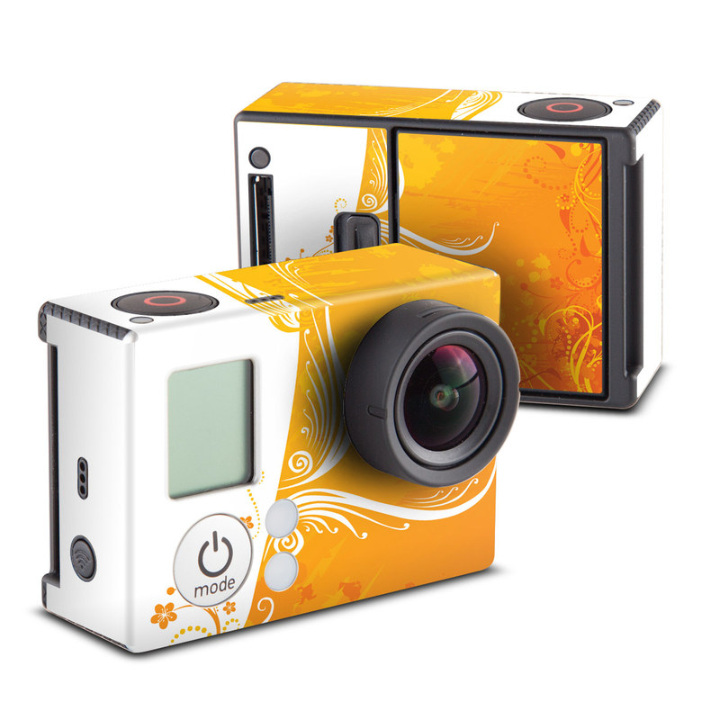 GoPro Hero3 Skin design of Orange, Yellow, Pattern, Amber, Design, Ornament, Floral design, Graphics, Graphic design, Visual arts with orange, white, red, pink, yellow colors
