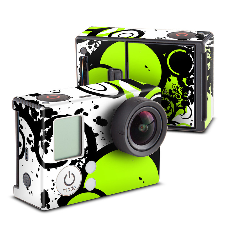 GoPro Hero3 Skin design of Green, Circle, Graphic design, Leaf, Visual arts, Font, Design, Line, Pattern, Clip art with white, black, green, gray colors