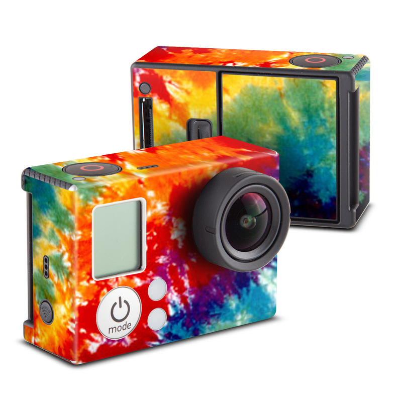 GoPro Hero3 Skin design of Orange, Watercolor paint, Sky, Dye, Acrylic paint, Colorfulness, Geological phenomenon, Art, Painting, Organism with red, orange, blue, green, yellow, purple colors