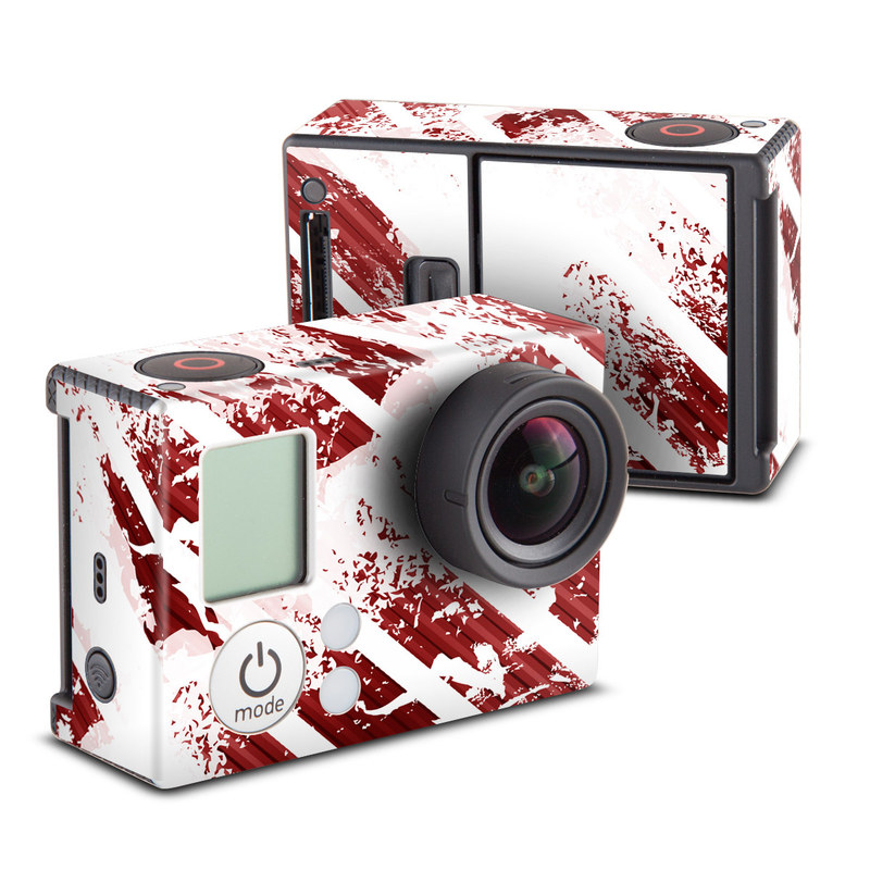 GoPro Hero3 Skin design of Red, Text, Line, Font, Pattern, Design, Graphic design, Illustration, Graphics with white, red, gray, pink, black colors
