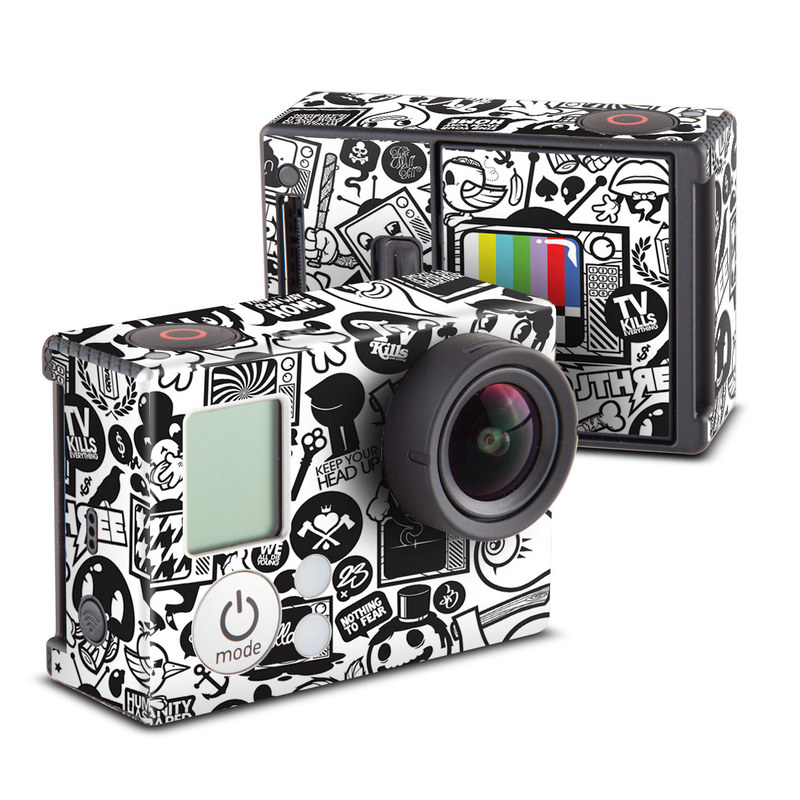 GoPro Hero3 Skin design of Pattern, Drawing, Doodle, Design, Visual arts, Font, Black-and-white, Monochrome, Illustration, Art with gray, black, white colors