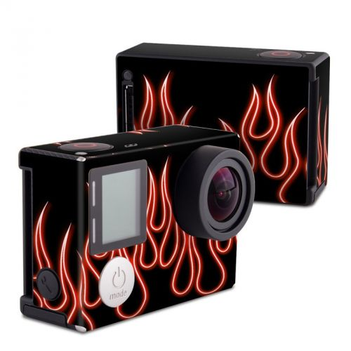 Red Neon Flames GoPro Hero4 Black Edition Skin