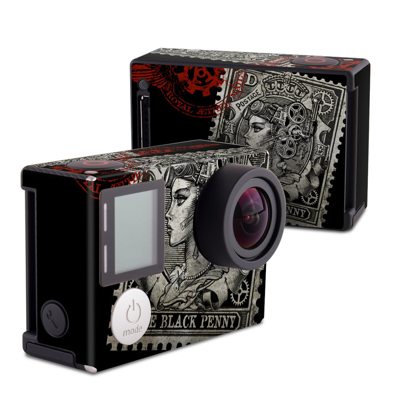 GoPro Hero4 Black Edition Skin design of Font, Postage stamp, Illustration, Drawing, Art with black, gray, red colors