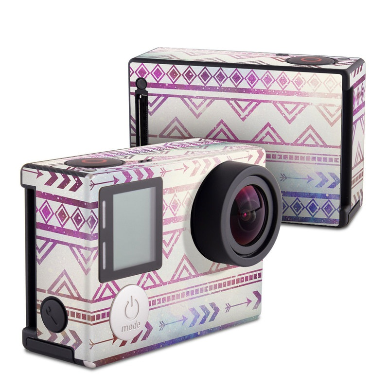 GoPro Hero4 Black Edition Skin design of Pattern, Line, Teal, Design, Textile with gray, pink, yellow, blue, black, purple colors