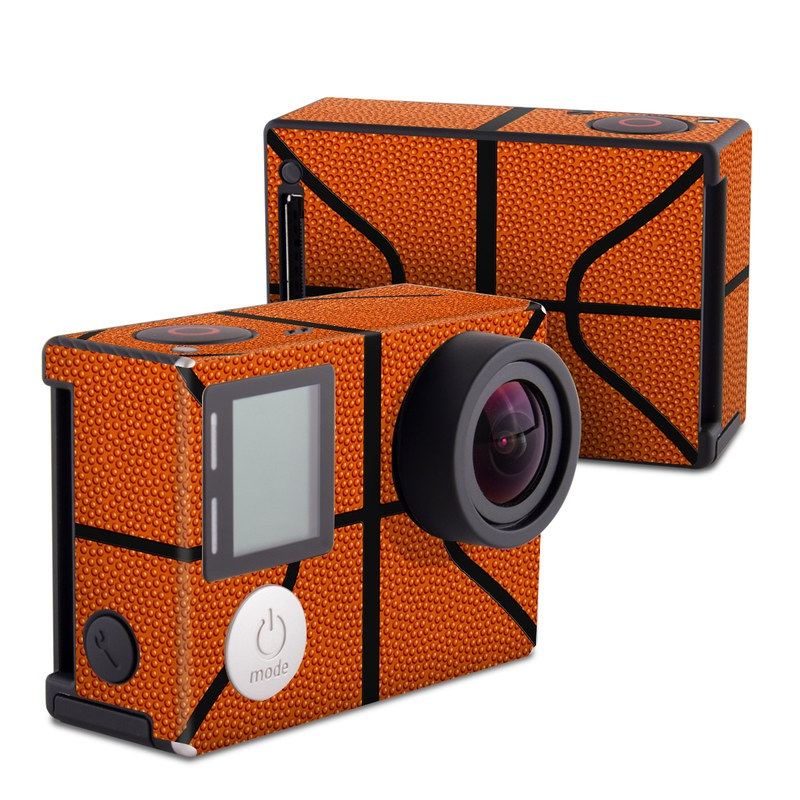GoPro Hero4 Black Edition Skin design of Orange, Basketball, Line, Pattern, Sport venue, Brown, Yellow, Design, Net, Team sport with orange, black colors