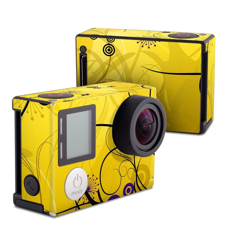 GoPro Hero4 Black Edition Skin design of Yellow, Pattern, Floral design, Purple, Graphic design, Design, Wallpaper, Art, Illustration, Visual arts with orange, yellow, black, purple colors
