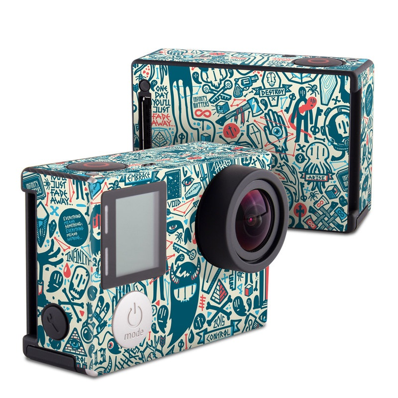 GoPro Hero4 Black Edition Skin design of Pattern, Psychedelic art, Turquoise, Art, Design, Visual arts, Line, Drawing, Doodle, Graphic design with white, green, blue, red colors