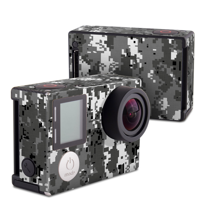GoPro Hero4 Black Edition Skin design of Military camouflage, Pattern, Camouflage, Design, Uniform, Metal, Black-and-white with black, gray colors