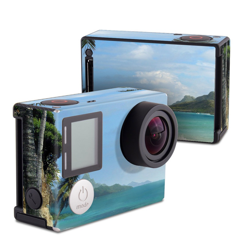 GoPro Hero4 Black Edition Skin design of Body of water, Tropics, Nature, Natural landscape, Shore, Coast, Caribbean, Sea, Tree, Beach with gray, black, blue, green colors