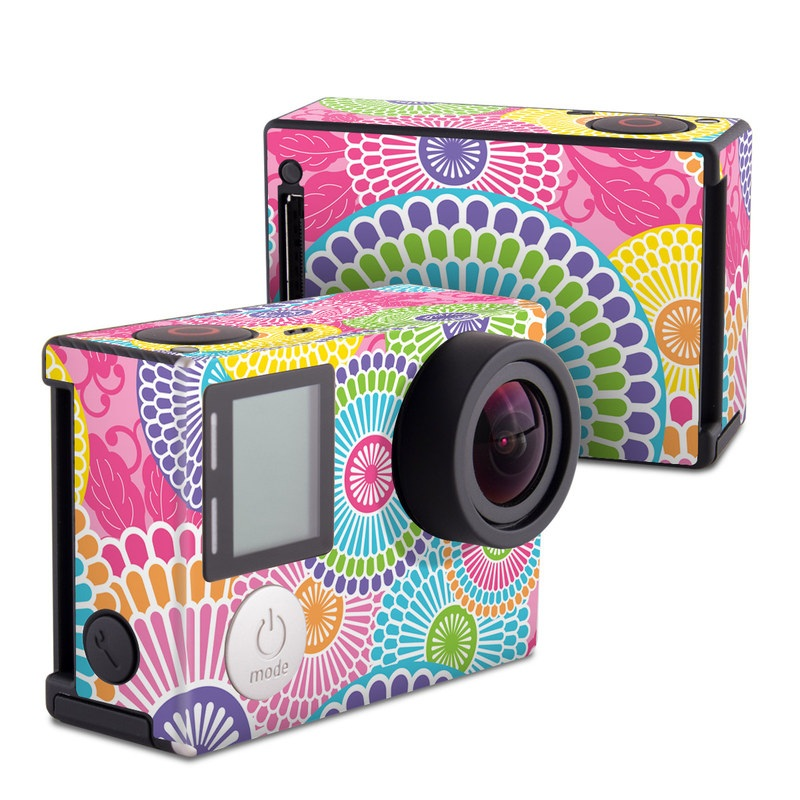 GoPro Hero4 Black Edition Skin design of Pattern, Circle, Textile, Design, Visual arts, Wrapping paper with gray, pink, purple, orange, blue, green colors