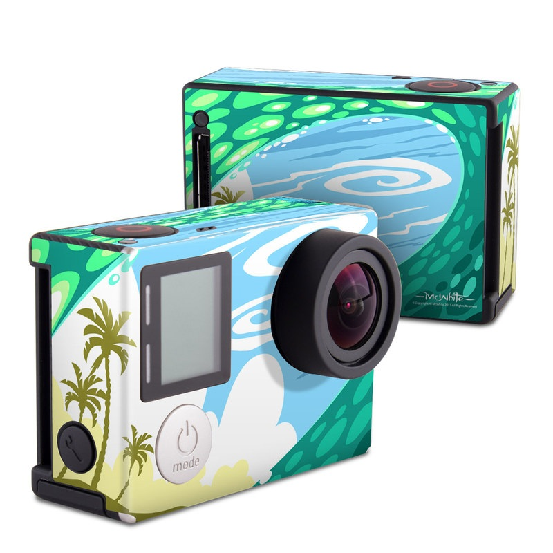 GoPro Hero4 Black Edition Skin design of Aqua, Green, Water, Illustration, Landscape, Circle, Pattern, Graphics, Art with blue, purple, black, white, green, yellow colors
