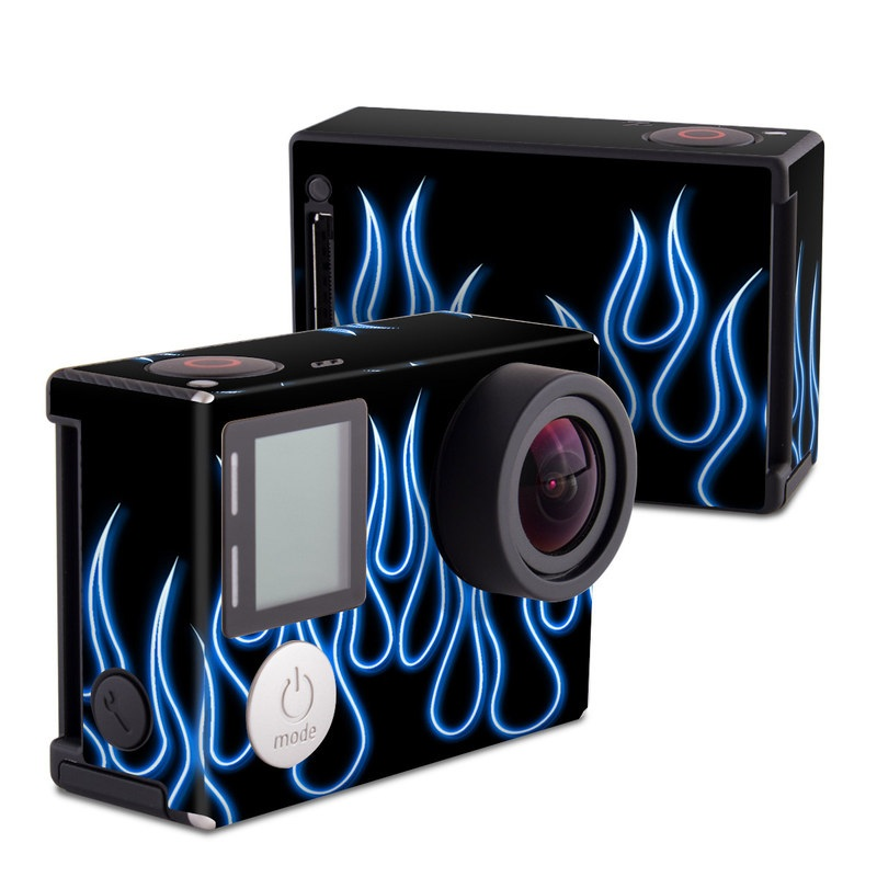 Blue Neon Flames GoPro Hero4 Black Edition Skin
