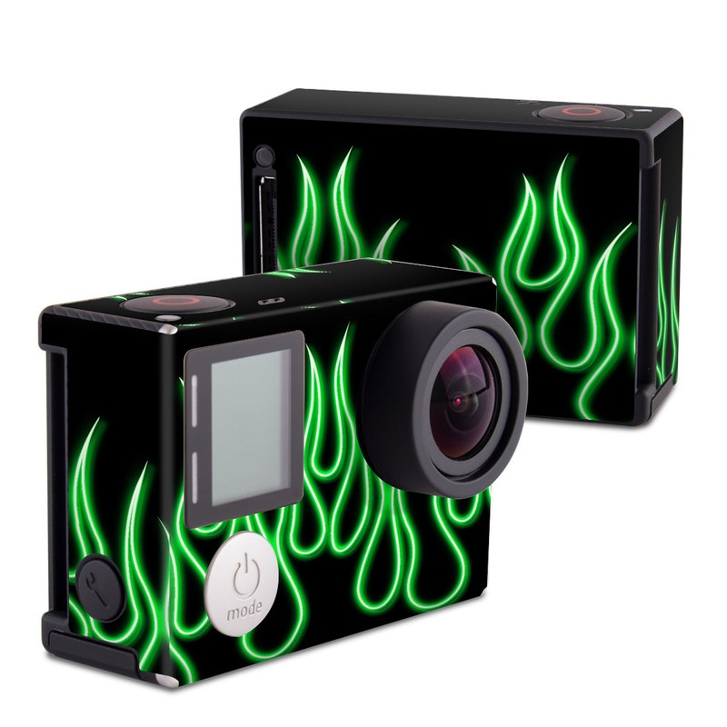 GoPro Hero4 Black Edition Skin design of Green, Light, Text, Font, Neon, Graphics, Technology, Neon sign with black, green colors