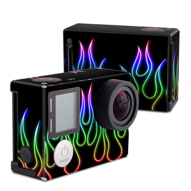 Rainbow Neon Flames GoPro Hero4 Black Edition Skin