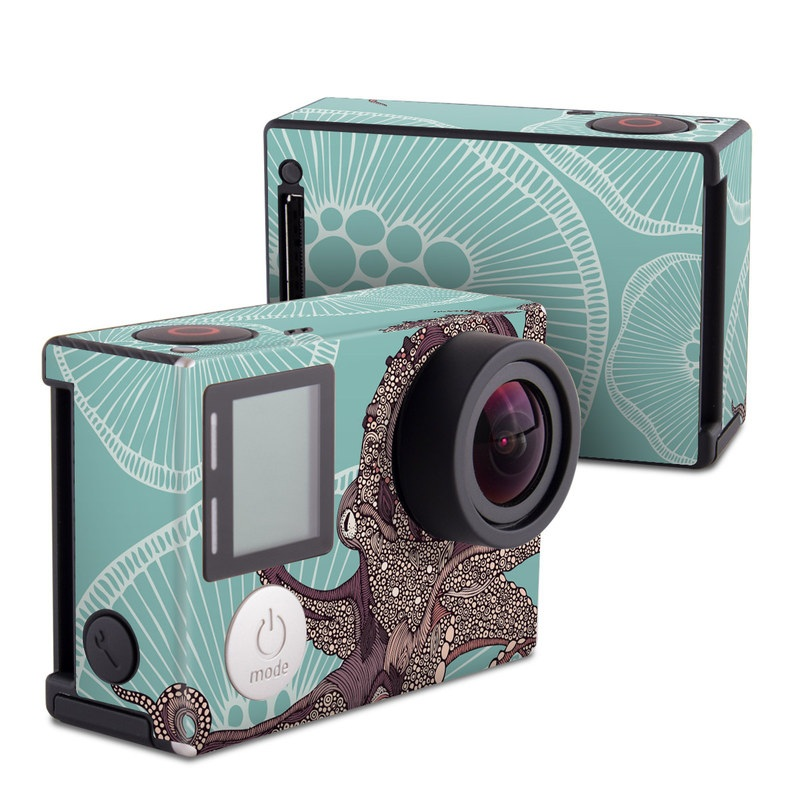 GoPro Hero4 Black Edition Skin design of Illustration, Art, Elephants and Mammoths, Pattern, Graphic design with gray, black, red, green colors