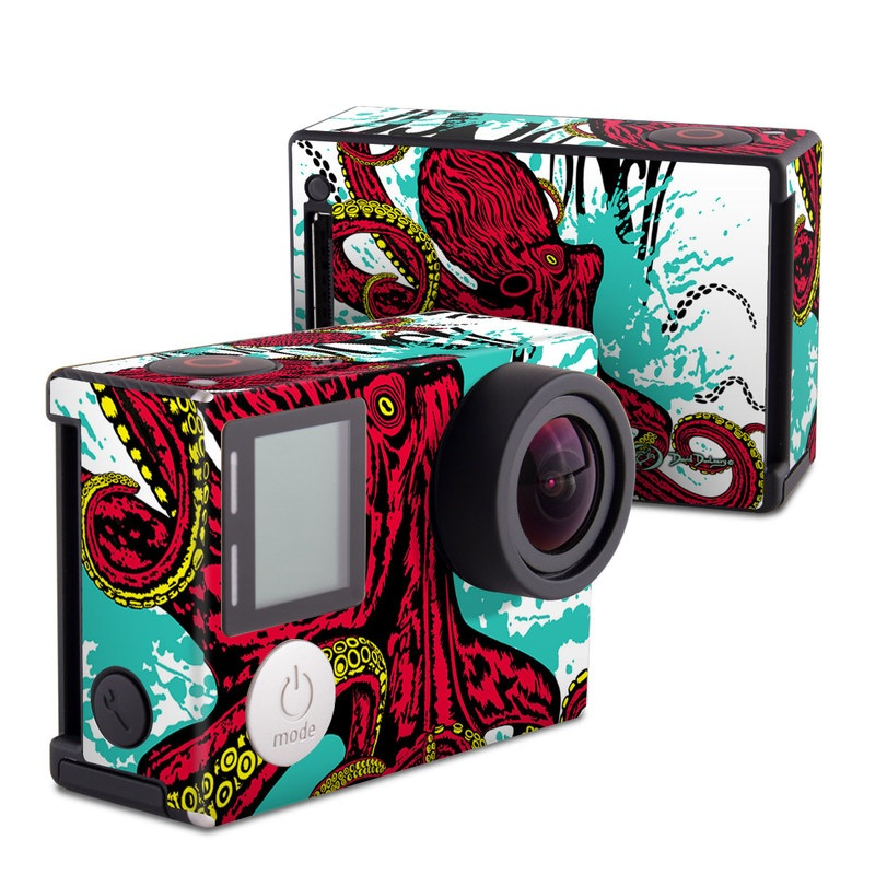 GoPro Hero4 Black Edition Skin design of Graphic design, Illustration, Visual arts, Octopus, Design, Art, Fictional character, Pattern, Clip art, Line art with black, white, gray, red, blue, green colors