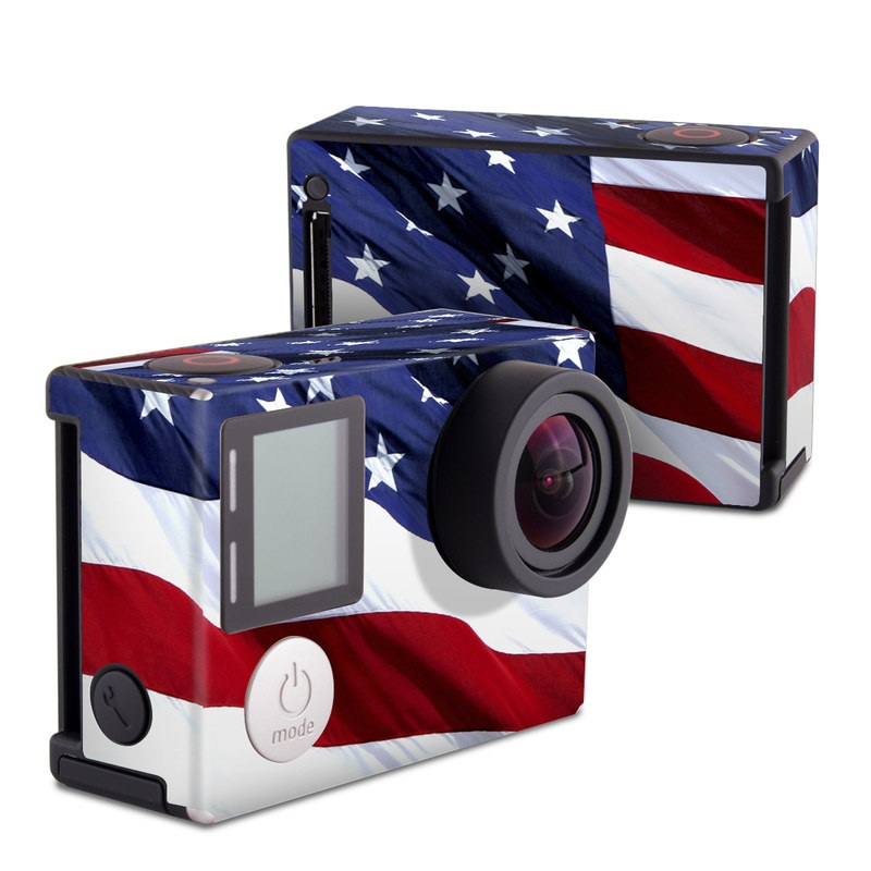 GoPro Hero4 Black Edition Skin design of Flag, Flag of the united states, Flag Day (USA), Veterans day, Memorial day, Holiday, Independence day, Event with red, blue, white colors